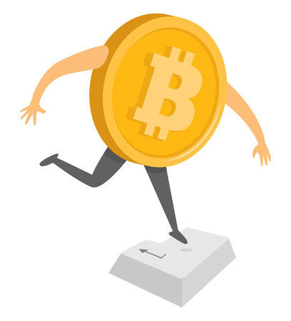 Cartoon illustration of bitcoin currency pressing enter key