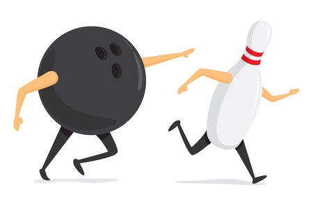 Cartoon illustration of bowling ball chasing pin running fast Ilustração