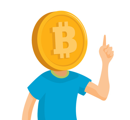 Cartoon illustration of bitcoin head giving his opinion Illustration
