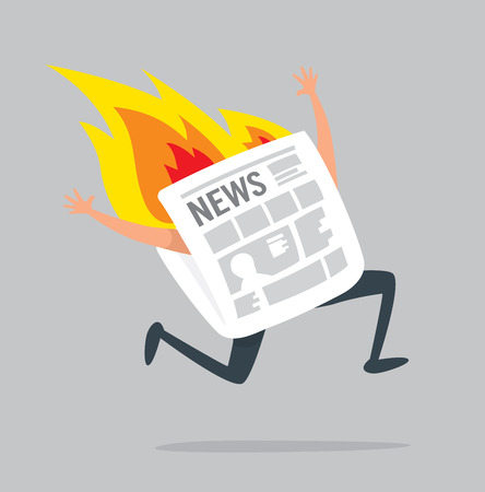 Cartoon illustration of paper journal running on fire