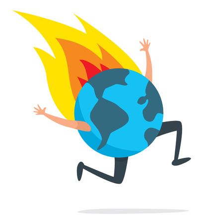 Cartoon illustration of planet earth running desperately on fire Stock Illustratie