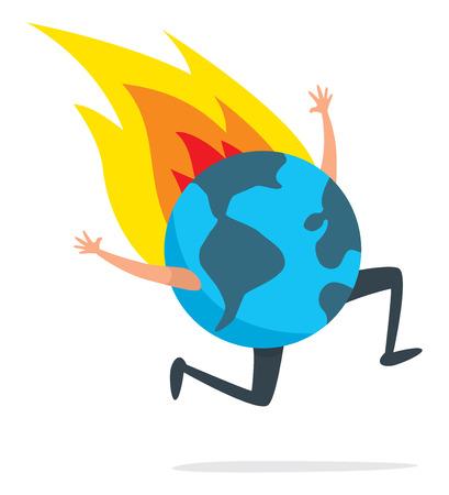 Illustration de dessin animé de la planète terre qui court désespérément en feu Vecteurs