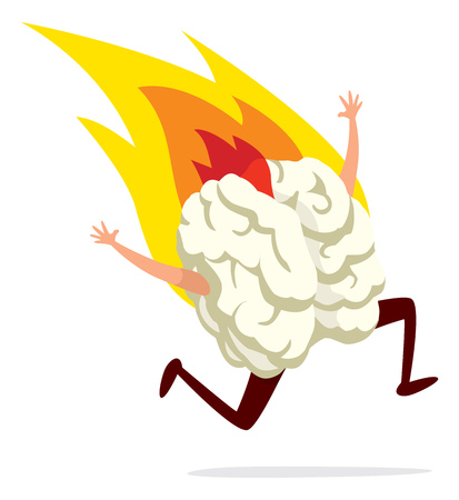 Cartoon illustration of human brain running on fire