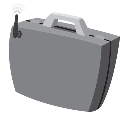 Cartoon illustration of smart suitcase connected to internet