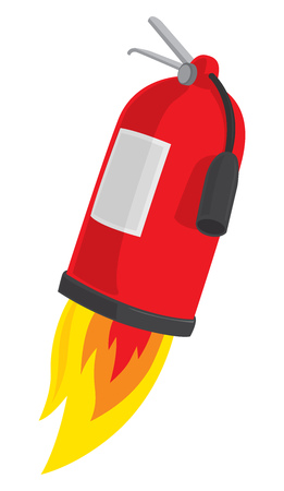 Cartoon illustration of fire extinguisher blasting off in flames