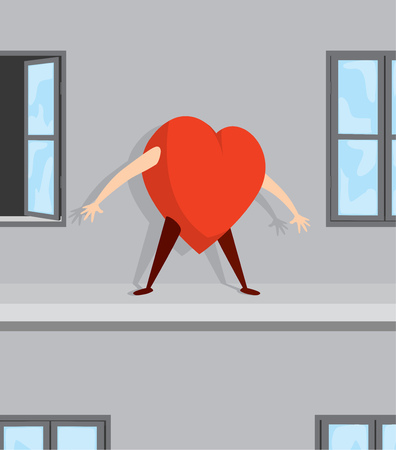 Cartoon illustration of desperate heart standing on ledge