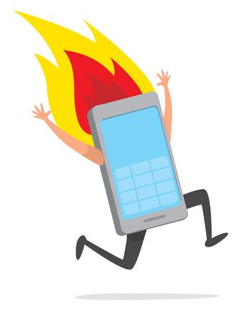 Cartoon illustration of overheating mobile phone runnning desperately on fire