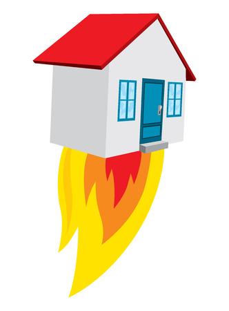 Cartoon illustration of flying house pin blasting off