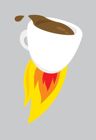 Cartoon illustration of hot coffee blasting off