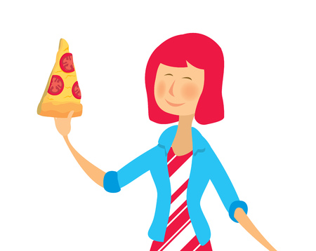 Cartoon illustration of casual girl eating tomato pizza