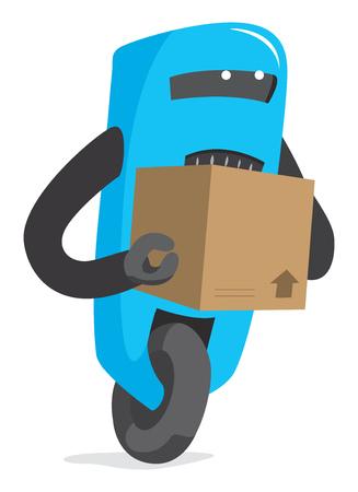 Cartoon illustration of working robot carrying a box Çizim