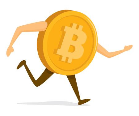 Cartoon illustration of bitcoin currency running fast