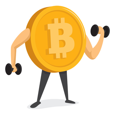 Cartoon illustration of bitcoin currency lifting heavy weights
