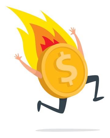 Illustration de dessin animé de pièce d'or en feu courant désespérément