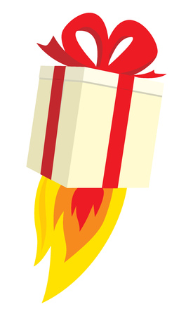 Cartoon illustration of flying gift blasting off