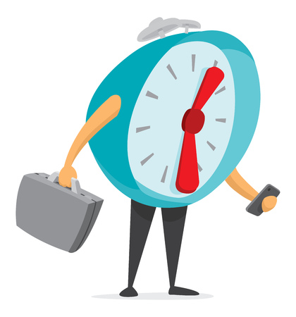 Cartoon illustration of alarm clock holding suitcase and texting