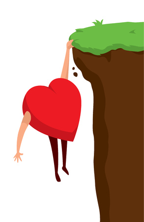 Cartoon illustration of heart about to fall from cliff