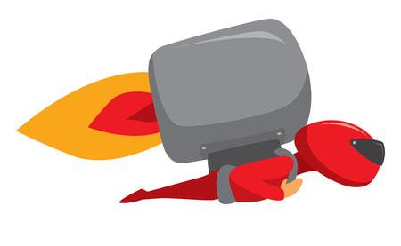 Cartoon illustration of masekd rocket man super hero