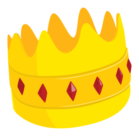 Cartoon illustration of golden crown with red jewels