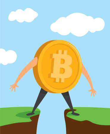 Cartoon illustration of bitcoin currency standing between cliffs