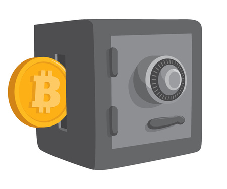 Cartoon illustration of bitcoin money or savings entering safe