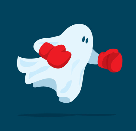 Ilustración de dibujos animados de fantasma con guantes de boxeo listo para luchar