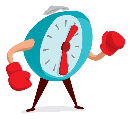 Cartoon illustration of alarm clock wearing boxing gloves Vector Illustration