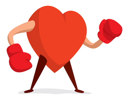 Cartoon illustration of tough heart with boxing gloves