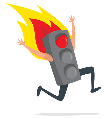 Cartoon illustration of burning traffic light running desperately