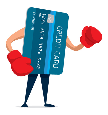 Cartoon illustration of credit card ready to fight