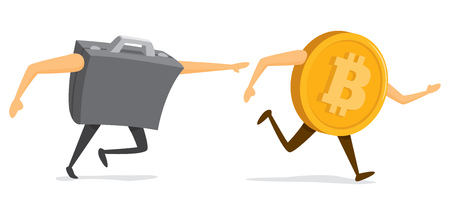 Cartoon illustration of business suitcase chasing bitcoin