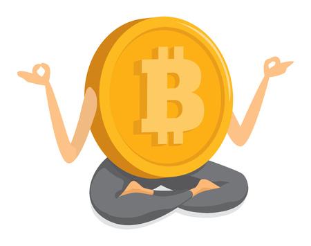 Cartoon illustration of bitcoin money meditating in lotus position Ilustração