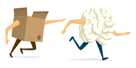 Cartoon illustration of brain escaping from cardboard box Illustration