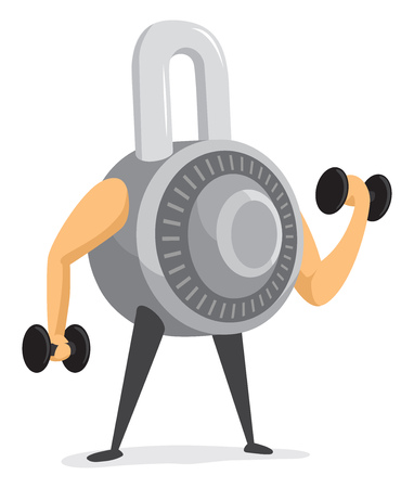 Cartoon illustration of strong combination padlock providing security