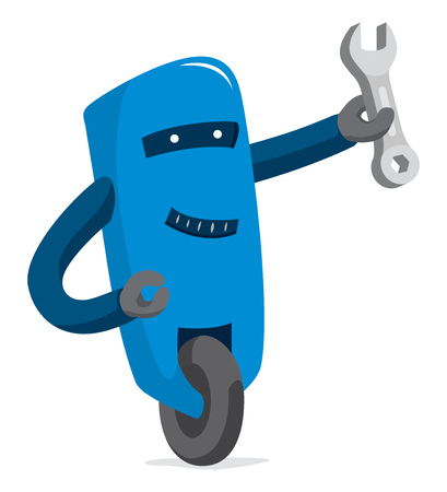 Cartoon illustration of support robot holding a wrench
