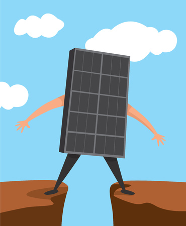 Cartoon illustration of undecided solar panel standing on gap