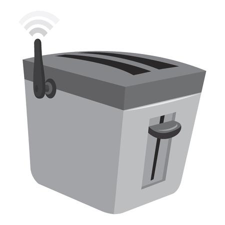 Cartoon illustration of smart toaster with wireless internet connection Vector Illustratie