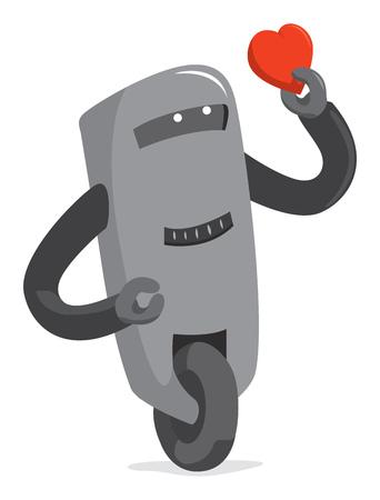Cartoon illustration of cute robot holding a heart