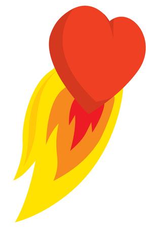 Cartoon illustration of burning heart blasting off Illustration