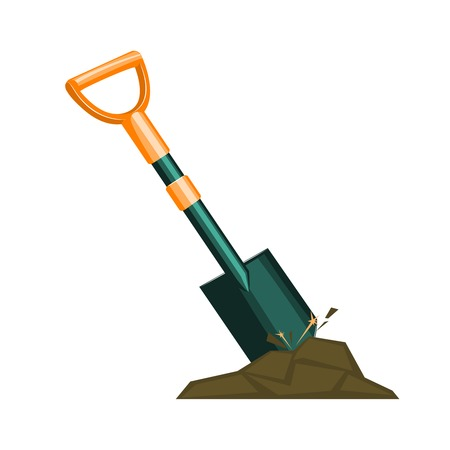 digging: Metal worker shovel digging with rock and sparks vector illustration