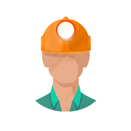 workman: Male workman head avatar with hardhat and flashlight flat vector illustration