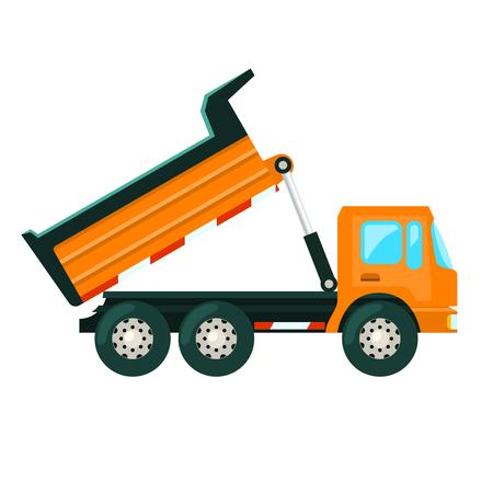heavy: Tip truck heavy mining and construction industry vehicle flat vector illustration Illustration