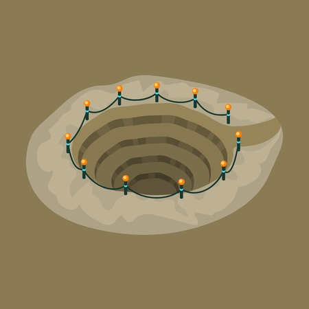 Circle mine pit with electricity lights string flat vector illustration