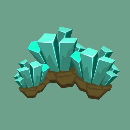 quartz crystal: Quartz crystal mineral icon isolated on green background vector illustration Illustration