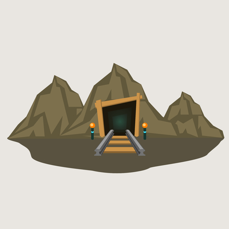 Old style industrial mine tunnel entrance with railway flat vector illustration