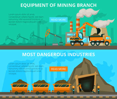 overburden: Underground mining of coal danger and equipment flat interactive horizontal banners website design abstract isolated vector illustration