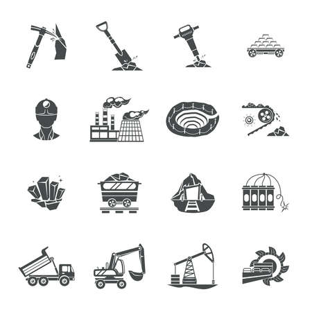 overburden: Blast and deep underground continuous mining equipment black icons set with rotating drum abstract isolated vector illustration
