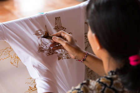 batik: Wax Painting in Bali Stock Photo