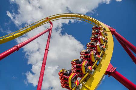 amusement: Exciting Roller Coaster in amusement park