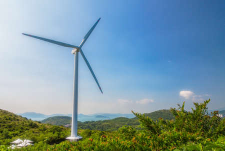 Eco power, turbina eolica in Lamma Island, Hong Kong Archivio Fotografico - 22162085